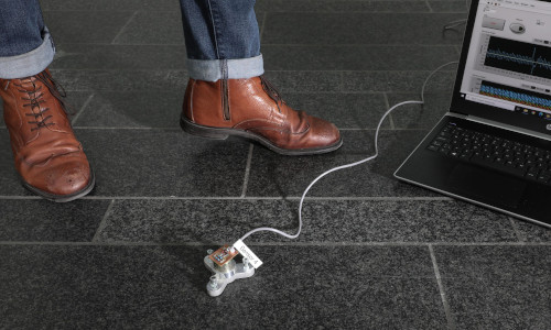 A floor sensor detects vibrations